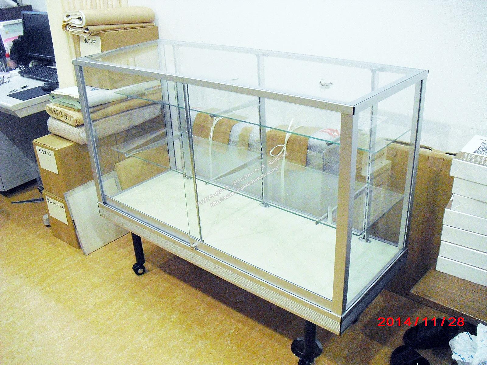 0062 ガラスショーケース(標準型) 平ケース シルバー